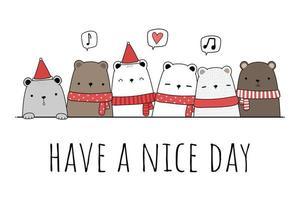 Cute teddy bear and polar bear greeting cartoon doodle vector