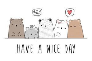 Cute teddy bear and polar bear cartoon doodle card vector