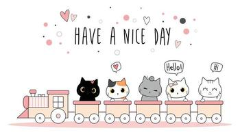 Cute cat kitten riding train greeting cartoon doodle vector