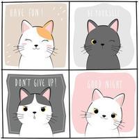 conjunto de lindo gato gatito saludo conjunto de tarjetas de doodle de dibujos animados vector