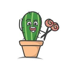 cute cactus character design vector template illustration