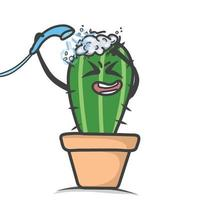 cute cactus showering character design vector template illustration