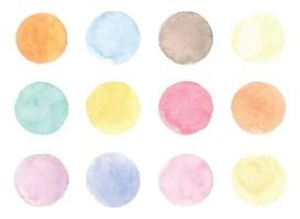 Round watercolor badges isolated on white background vector