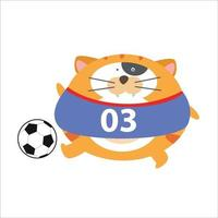 Cute cat playing football character  vector template design illustration