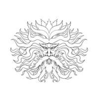 helios, dibujo de la cabeza del dios sol griego, blanco y negro vector