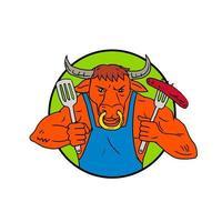 Toro sosteniendo salchicha barbacoa color de dibujo vector