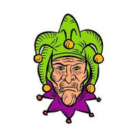 Medieval Court Jester Etching in Color vector