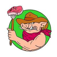 Cowboy Hog Holding Barbecue Steak Drawing Color vector