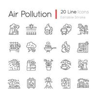 Air pollution linear icons set vector