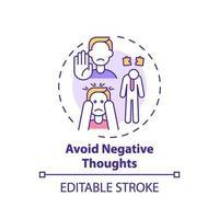 Evite el icono del concepto de pensamiento negativo vector