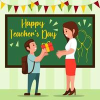 Giving Gifts to the Teacher on Teacher's Day vector