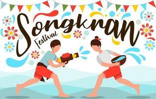 Celebrating Songkran Water Festival vector