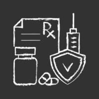 Medical insurance chalk white icon on black background vector