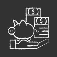 Seguro de protección de pago icono de tiza blanca sobre fondo negro vector