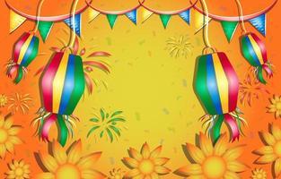 Festa Junina con linternas y fondo de flores. vector