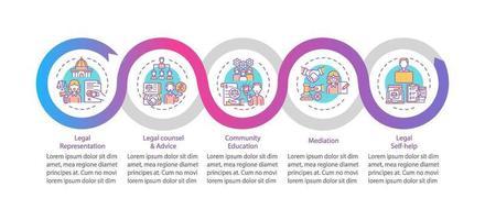 Categorías de servicios legales plantilla de infografía vectorial vector