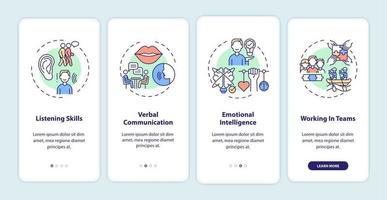 categorías de autoevaluación de habilidades interpersonales incorporación de la pantalla de la página de la aplicación móvil con conceptos vector