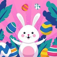 un conejo rodeado de huevos de colores vector