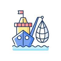 Industrial fishing RGB color icon vector
