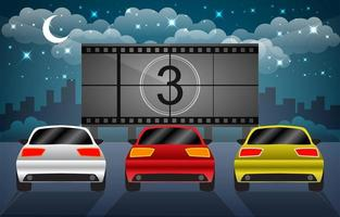 Drive In Movie with Blank Screen vector
