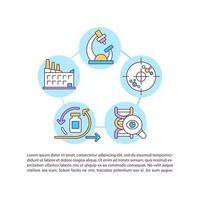 Vaccine production concept line icons with text vector