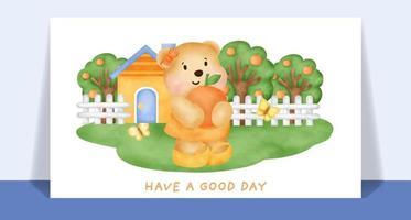 Watercolor cute teddy bear  in garden card. vector