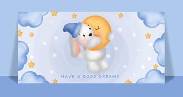 acuarela lindo conejo durmiendo en la tarjeta de la luna. vector