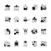 Air pollution black linear icons set vector