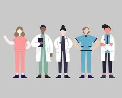 Set of health professionals from different races and uniform vector