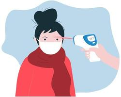 Body temperature check with thermal scanner vector