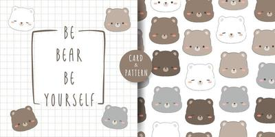 Cute chubby teddy bear and polar bear head cartoon doodle card and seamless pattern bundle vector