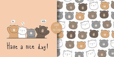 Cute teddy bear and polar bear greeting cartoon doodle card and seamless pattern bundle vector