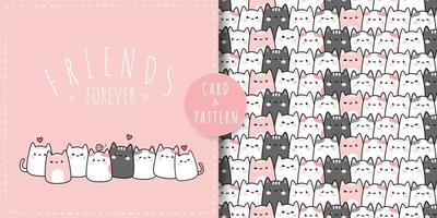 Cute pink pastel chubby cat friends greeting cartoon doodle card and seamless pattern bundle vector