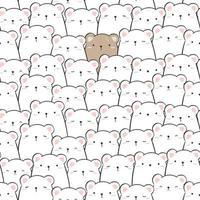 Cute teddy bear surrounded by polar bears funny cartoon doodle seamless pattern vector