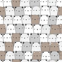 Cute teddy bear and polar bear cartoon doodle seamless pattern vector