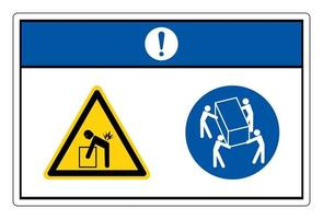 Notice Lift Hazard Use Four Person Lift Symbol Sign On White Background vector