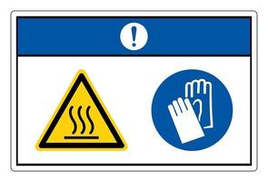 Notice Hot Oven Wear Protective Gloves Symbol Sign On White Background vector