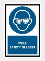 Wear Safety Glasses Symbol Sign Isolate On White Background,Vector Illustration EPS.10 vector