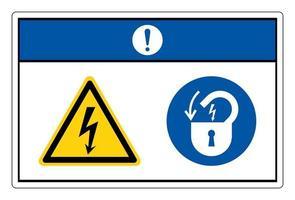 Aviso de bloqueo de voltaje peligroso signo de símbolo de energía eléctrica sobre fondo blanco. vector