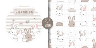 Cute rabbit bunny greeting cartoon doodle card and seamless pattern bundle vector