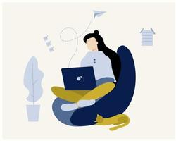 Work at home concept design. Freelance woman working on laptop at her house, dressed casual. Flat illustration. vector