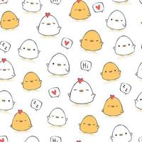Cute chubby chicken and rooster cartoon doodle seamless pattern vector