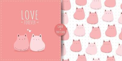 Cute chubby cat kitten cartoon card seamless pattern bundle vector