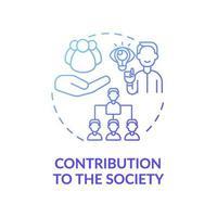 contribución a la sociedad icono azul degradado concepto vector