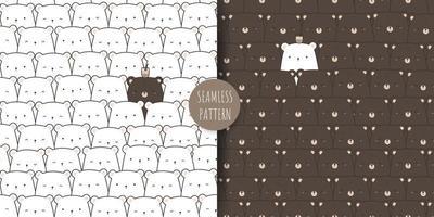Cute teddy bear and polar bear cartoon doodle seamless pattern bundle vector