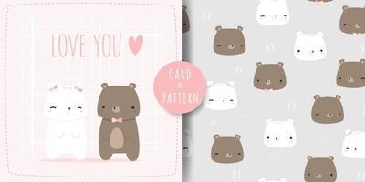 lindo oso de peluche y oso polar aman la tarjeta de dibujos animados de pareja y el paquete de patrones sin fisuras