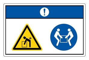 Notice Lift Hazard Use Two Person Lift Symbol Sign On White Background vector