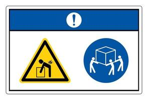 Notice Lift Hazard Use Three Person Lift Symbol Sign On White Background vector