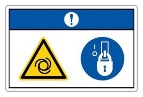 Notice Equipment Starts Automatically Lock Out In De-Energized State Symbol Sign On White Background vector