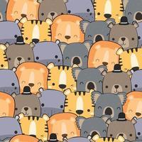 Cute animals lion koala hippo tiger bear cartoon doodle seamless pattern vector